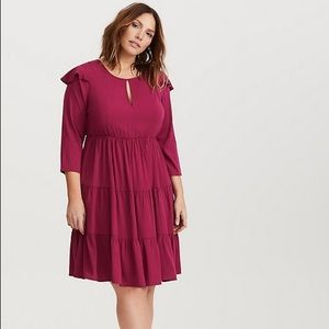 NWT Torrid Wine Plus Size Ruffle Skater Dress